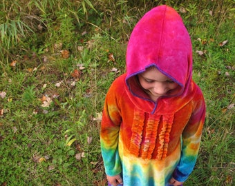 Rainbow Dress, Girls Rainbow Dress, Bamboo Velour Dress, Hooded Dress, Tie Dyed Dress, MADE TO ORDER you choose colors