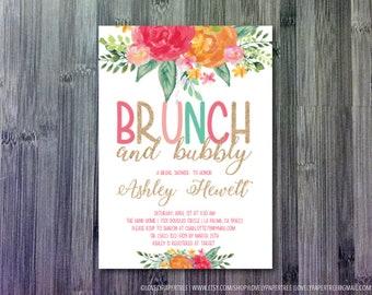 Glitter Brunch Shower Invitation   OR Baby Shower   BS34