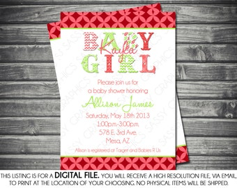Girls Baby Shower Invitation -  Pink, Green, Printable, Digital