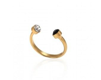 Boho Ring, Black & White Swarovski Crystal Ring, Adjustable Stacking Ring, Open Gold Plated Ring, Casual Ring, Bohemian Ring, Dainty Ring