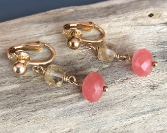Strawberry Quartz Gold Rutilated Quartz Gold Clip On Earrings / 14kt Gold Filled Clip Earrings / Pink and Gold Earrings
