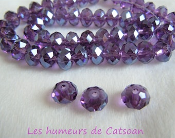 10 Crystal beads with faceted purple 10x7mm abacus /rondelle crystal design jewelry