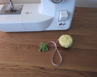 Hand knitted Yellow Pineapple Pin Cushion/Covered Retractable Tape Measure, #OOAK