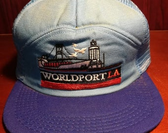 Vintage Worldport LA blue snapback trucker hat