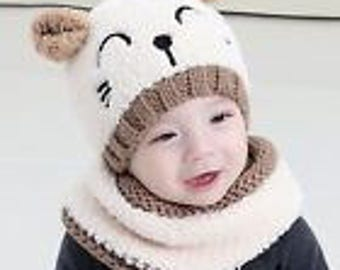 Super cute bear hat and cowl for toddler