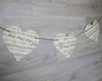 Music Paper Bunting | Large Heart Bunting | Vintage Garland | Music Theme Decor | Housewarming | Party Decoration | Shabby Chic | Romantic