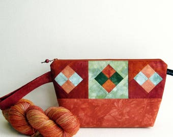 Wedge Bag, Small-Project Knitting Bag, Hand-Dyed Fabric Patchwork