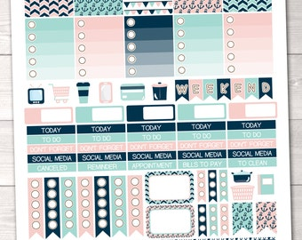 Nautical Printable Planner Stickers Weekly Kit with Weekend Banner Icons Appointment Boxes