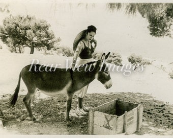 LADY WITH DONKEY Vintage Photograph Digital Download
