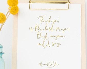 Alice Walker Thank You Prayer Printable   Instant Download   Gratitude Spiritual   Minimalist Art Gold Foil Effect