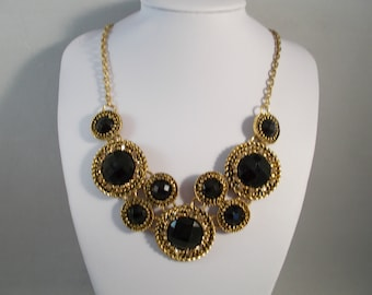 Gold Tone and Black Pendant Bib Necklace with Gold Rhinestones on a Gold Tone Chain