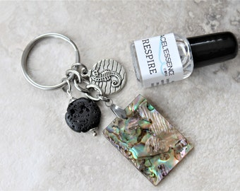 DIFFUSER KEYCHAIN with abalone set, oil & beach theme keychain, natural shell with lava rock, teacher gift, gift for her, seahorse charm,