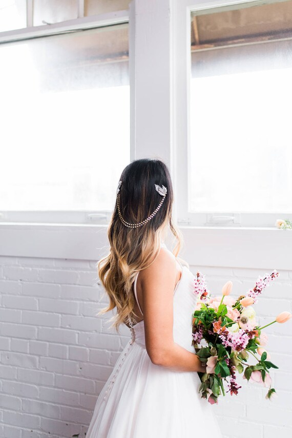 Bridal Headpiece, Head Chain, Bridal Hair Chain, Rhinestone Head Chain, Bohemian Bridal Headpiece, Gold Leaf Hair Clips, Boho Wedding MEADOW