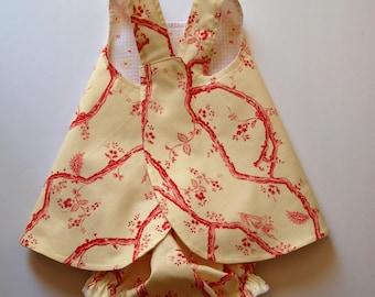 Baby Pinafore with Matching Bloomers, Sundress, Summer Dress, Cotton Dress, Beach Dress, size 6 month, Reversible
