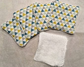 """Set of 5 wipes-eco-friendly cotton Washcloths """"Mustard-blue-green Triangles of water"""""""