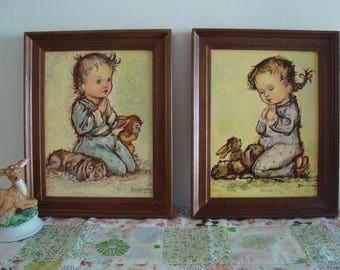 Vintage Bukac Lithographs in Frame No. 1904 - Pair of Hanging Art Pictures - 1959 Made in the USA by Donald Art Co - Boy and Girl Praying