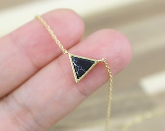 Dainty Necklace, Black Marble Stone and Light Gold Triangle Pendent Necklace, Tiny Pendent Necklace, Bridesmaid Gift, Birthday Gift-5052