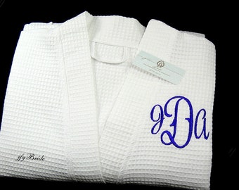 Monogram Robe, Personalized gift for her, Cotton Anniversary Gift for her, Personalized Women's Robe, Cotton Spa Robe, jfyBride, 1726