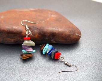 Mixed-Stones Earrings Stacked Earrings Amethyst Earrings Jade Earrings 2018 New Lapis Earrings Dainty Earrings Stacked Stone Earrings