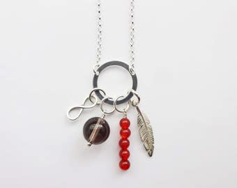 Multi Charm Necklace - Red Gemstone Necklace - Infinity Pendant - Feather Pendant - Red Agate - Smokey Quartz - Wife Gift - Gift for Her