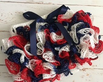 Ready to Ship Crochet Ruffle Skirt Size 6-12 month in red white and blue