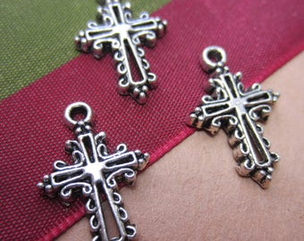 18 Tiny Silver cross charms double sided  pendants antiqued metal christian charms 20mm x 14mm bracelet charms HP(-SR5-4),