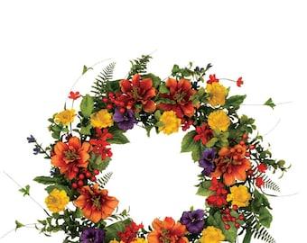 """Mixed Flower Wreath 22"""""""