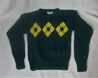Vintage 80s Sweater Cotton Ramie Saks Fifth Avenue Argyle Retro Preppy Boys Pullover