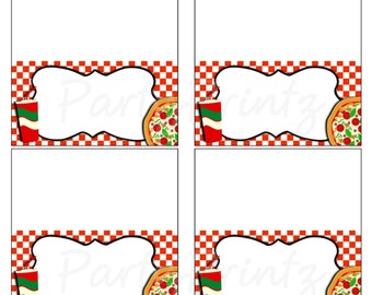 INSTANT DOWNLOAD - Printable Pizza Party - Food Cards - Place Cards - Favor Tags
