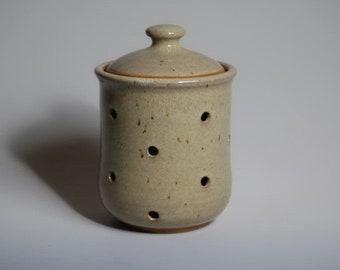Garlic keeper, jar, stoneware pottery