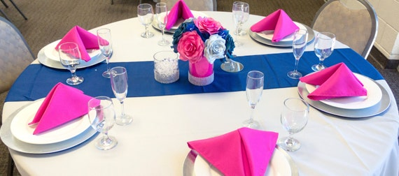 Navy Blue Hot Pink And Silver Wedding Centerpieces Reception Table Decor Bridal Shower Baby Event