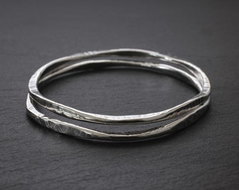 Sterling Bangle - Silver Bracelet - Hammered Silver Bracelet - Sterling Silver Bangle Bracelet - Eternity Bangle - Large, Medium, & Small