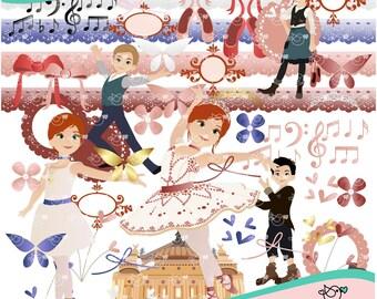 Ballerina Film Ballet Dancer Clipart instant download PNG file - 300 dpi