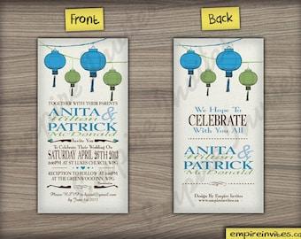 Chinese lantern wedding invitations |  invites handmade in Canada by empireinvites.ca