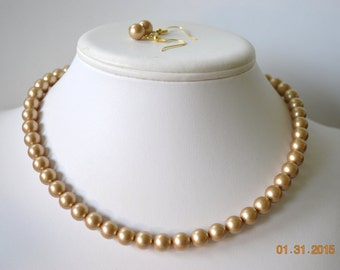 Single Strand Vintage Gold Colored Swarovski Pearl Beaded Necklace and Earring Set    Great Brides or Bridesmaid Gifts