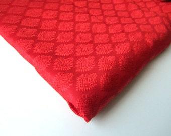 Christmas Red soft silk brocade ton sur ton fabric nr 88 fat quarter