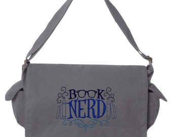Booked Up - Book Nerd Embroidered Canvas Cotton Messenger Bag