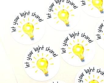 Shop Exclusive - let your light shine - watercolor light bulb stickers