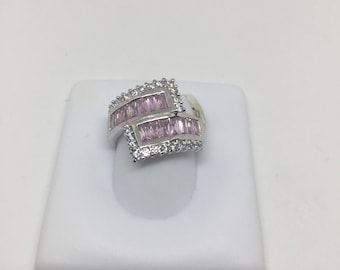 Sterling Silver .925 Pink CZ bypass ring