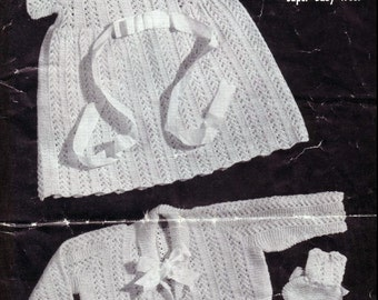 Baby KNITTING PATTERN - Baby Outfit - Dress, Coat and Booties/Bootees 1 to 6 months