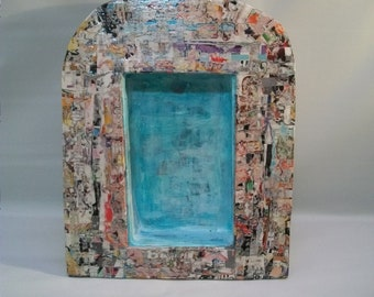 Handmade Paper Mache Shadow Box, Decoupage Front, Urban Style Shadow Box, Shrine, Wall Art, Mix Media Craft Supply, Box to Decorate, Crafts