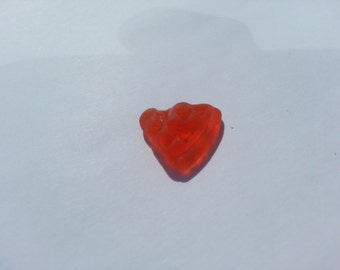 Rare red textured sea glass - red beach glass - red textured pendant