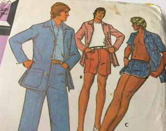 1970s McCall's Sewing Pattern 3581- Swim Trunks, Shorts, Trousers & Jacket, Chest 40ins