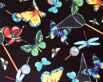 Last Piece Butterfly Fabric | 23 inches x 42 inches wide | Black | Beautiful Insects | Dragonflies | Nets | Bug Catching | Pretty Moths