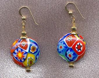 Millefiori Murano Glass, Finest Quality, Multicolored Mosaic, 22mm Disc Shaped Beads handmade on the island of Murano, Italy.