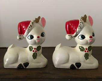 Pair of mid century white deer Christmas decorations
