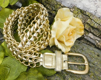 gold chain leather belt -wide gold chain belt - chunky wide Gold belt - gold metal chain belt - waist up to 32 inches  # 55