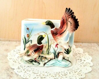Vintage 3D Mallard Planter Wall Pocket Flying Duck Wall Planter Ceramic Mallard Duck Pond Planter Country Cabin Nature Bird 1950s Home Decor