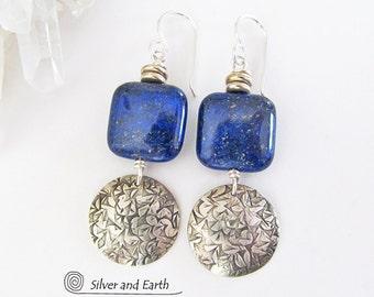 Lapis Earrings, Sterling Silver Dangle, Handmade Silver Earrings, Blue Stone Earrings, Lapis Lazuli Jewelry, Blue Earrings, Sterling Jewelry