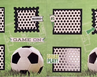 Soccer Scrapbook Page, Scrapbook premade Page, 12X12 Premade Scrapbook Page, Sports Scrapbook Page, Sports Premade page,